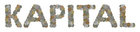 KAPITAL Wort mit alten Münzen