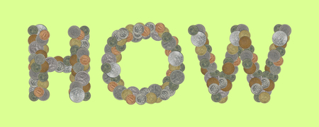 HOWE - Coins on green background Stock Photo