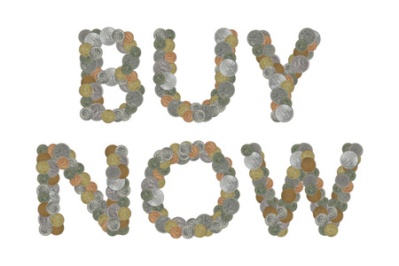 trade off: BUY NOW - Coins on white background
