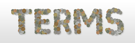 TERMS - Coins on gray background Stock Photo - 76229033