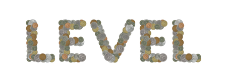 LEVEL - Coins on white background Stock Photo