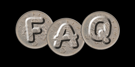 FAQ - Frequently Asked Questions - Coins on black background