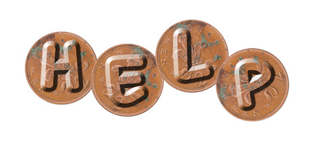 single word: HELP - Coins on white background