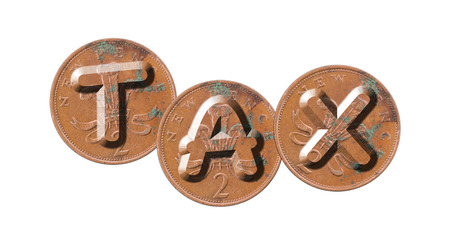 TAX - Coins on white background