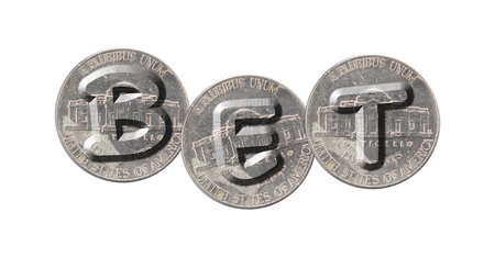 BET - Coins on white background