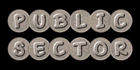 PUBLIC SECTOR - Coins on black background