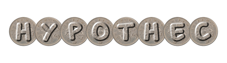 HYPOTHEC word with old coins on white background