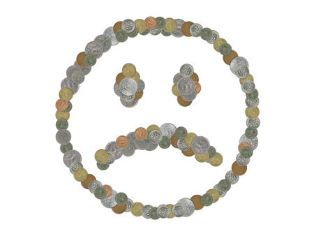 Sad face emoji with old coins on white background