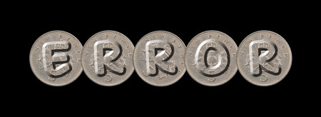 ERROR - Coins on black background Stock Photo