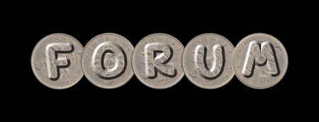 FORUM - Coins on black background Stock Photo