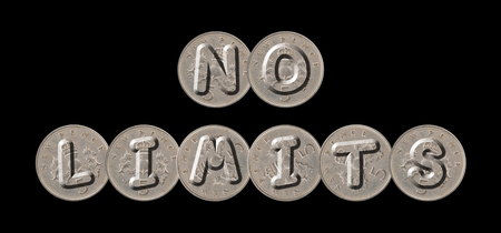 NO LIMITS - Five new pence coins on black background Stock Photo