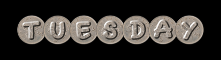 TUESDAY - Five new pence coins on black background