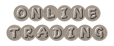 ONLINE TRADING  written with old British coins on white background