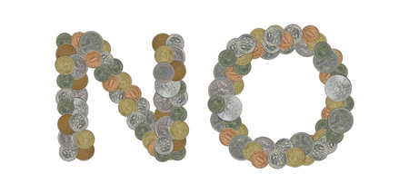 NO written with old  coins on white background
