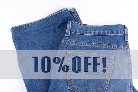 10 percent OFF written on blue jeans Stock fotó