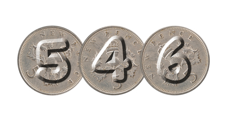 546 written with old British coins on white background Banque d'images