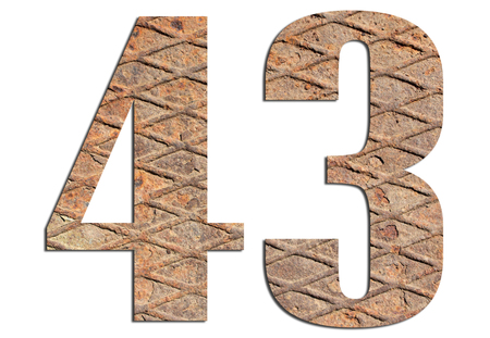 43 – with metal texture on white background 스톡 콘텐츠