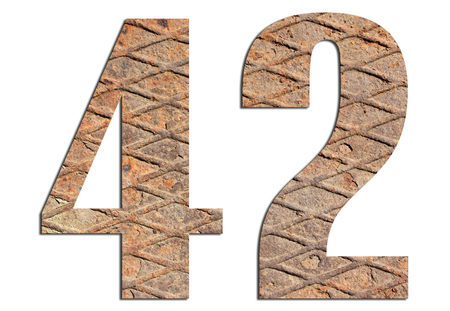42 – with metal texture on white background 스톡 콘텐츠