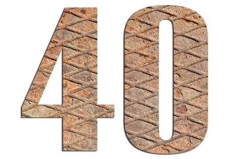40 – with metal texture on white background 스톡 콘텐츠