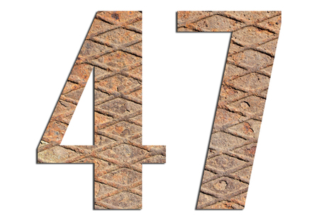 47 – with metal texture on white background