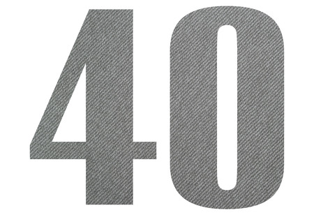 40, Fourty - with gray fabric texture on white background 스톡 콘텐츠