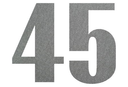 45, Fourty five - with gray fabric texture on white background