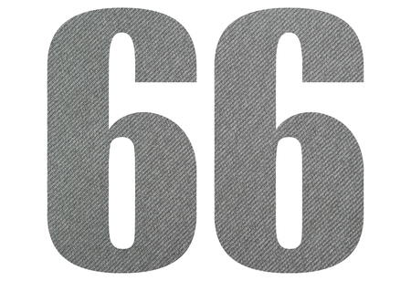 66, sixty six - with gray fabric texture on white background