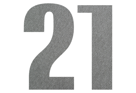 21, twenty one - with gray fabric texture on white background