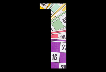 1, one - with tombola cards on black background