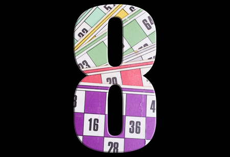 8, eight - with tombola cards on black background