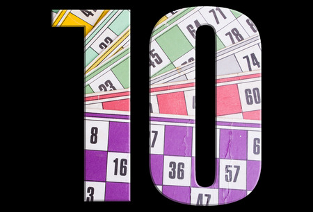 10, ten - with tombola cards on black background