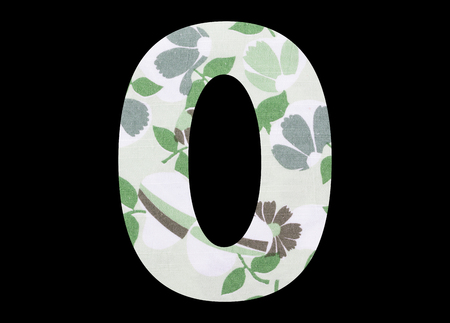 0, zero – with flowery fabric texture on black background