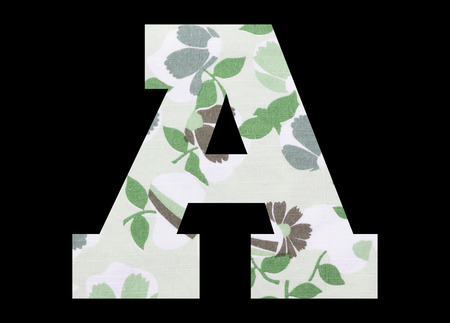Letter A – with flowery fabric texture on black background