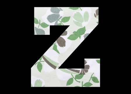 Letter Z – with flowery fabric texture on black background