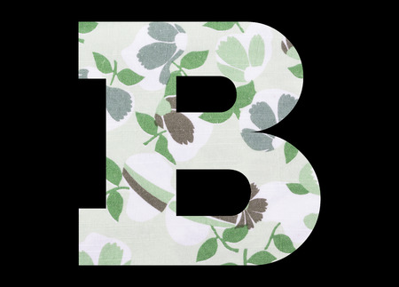 Letter B – with flowery fabric texture on black background