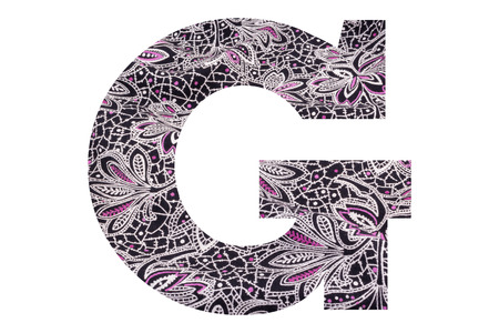 Letter G – with floral fabric texture on white background