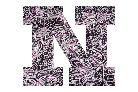 Letter N – with floral fabric texture on white background