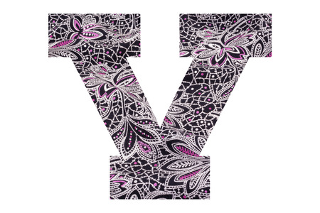 Letter V – with floral fabric texture on white background