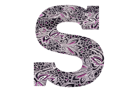 Letter S – with floral fabric texture on white background 写真素材 - 111307754