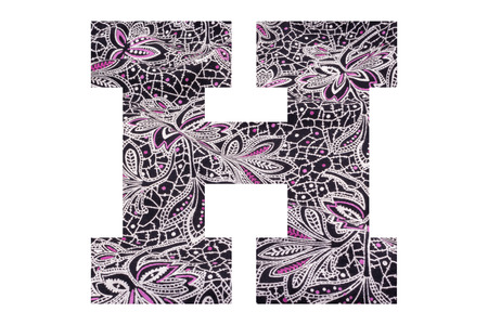 Letter H – with floral fabric texture on white background