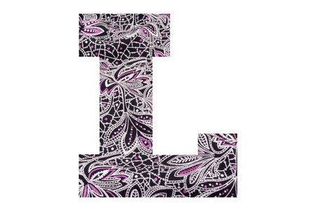 Letter L – with floral fabric texture on white background 写真素材