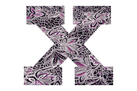 Letter X – with floral fabric texture on white background