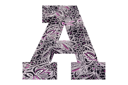 Letter A – with floral fabric texture on white background 写真素材