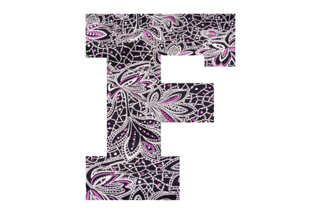 Letter F – with floral fabric texture on white background