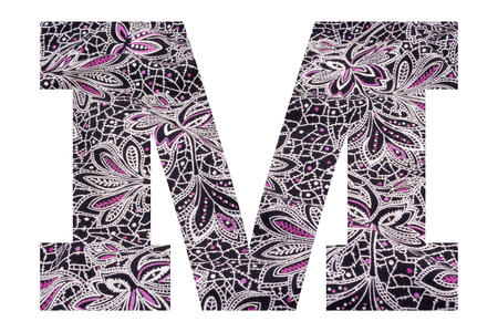 Letter M – with floral fabric texture on white background 写真素材