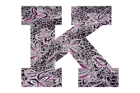 Letter K – with floral fabric texture on white background