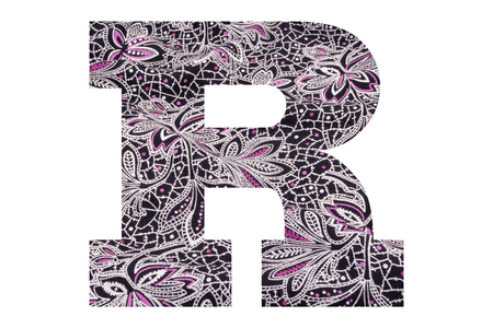 Letter R – with floral fabric texture on white background