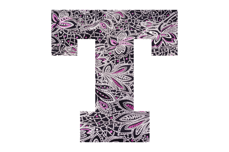 Letter T – with floral fabric texture on white background 写真素材 - 111307797