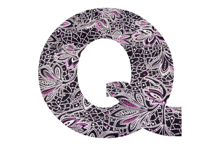 Letter Q – with floral fabric texture on white background