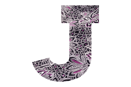 Letter J – with floral fabric texture on white background